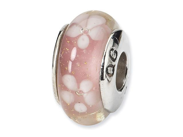 925 Sterling Silver Pink White Hand Blown Glass Bead