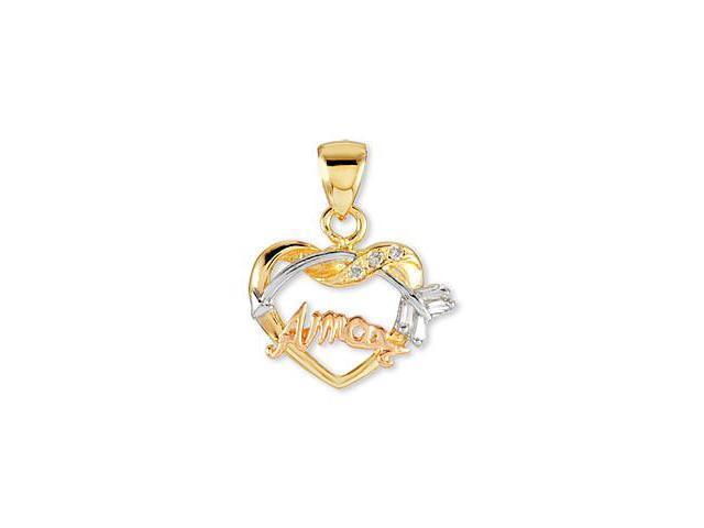 14k White Rose Yellow Gold AMOR CZ Heart Arrow Pendant