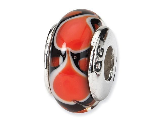 925 Silver Orange Black White Hand Blown Glass Bead
