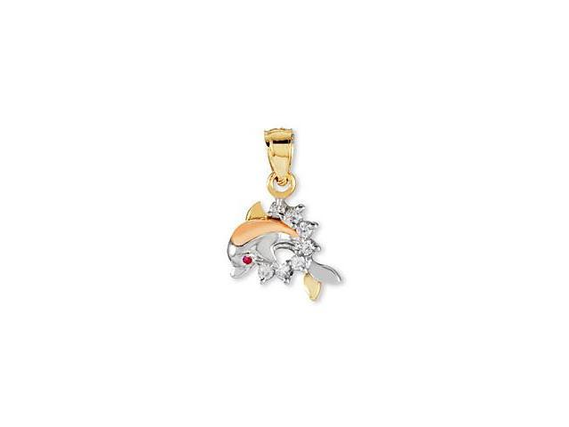 14k White Rose Yellow Gold Round CZ Dolphin Pendant