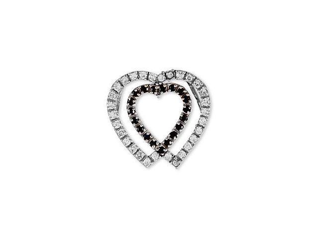 14k White Gold Black White CZ Two Hearts Love Pendant