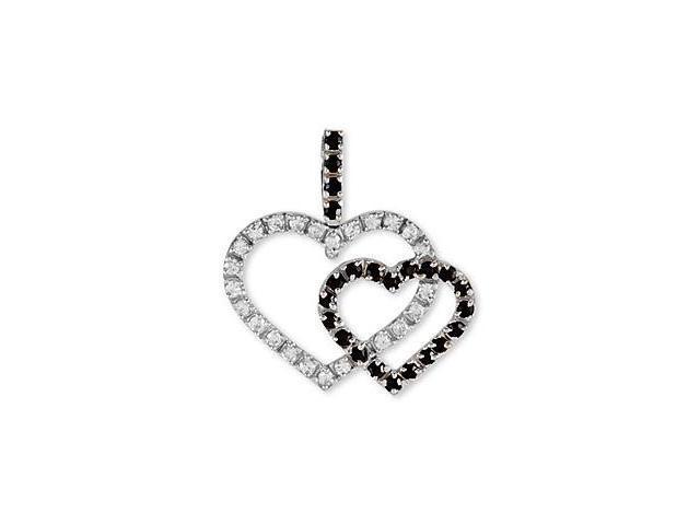 14k White Gold Black White CZ Open Hearts Love Pendant