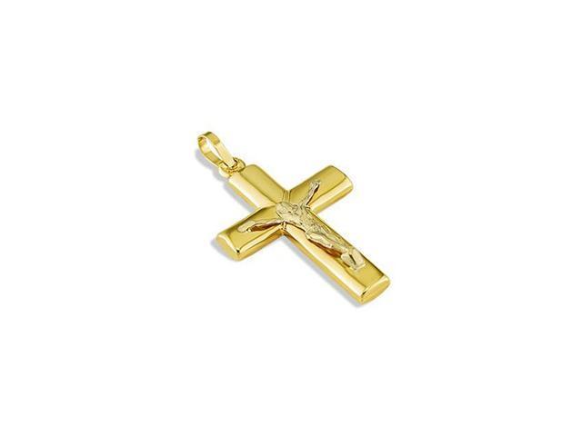 Polished 14k Yellow Gold Crucifix Jesus Cross Pendant