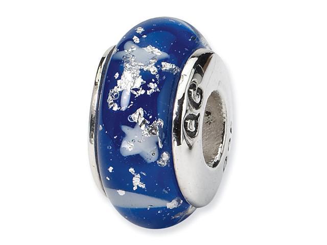 "925 Silver White Stars Blue 1/4"" Hand Blown Glass Bead"