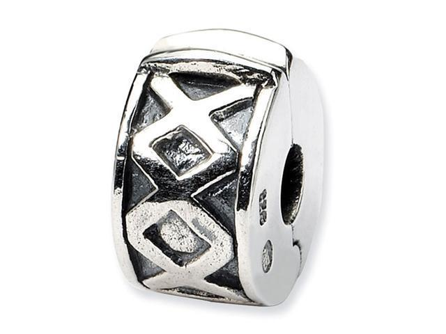 925 Sterling Silver Round Hinged X Clip Bead Charm