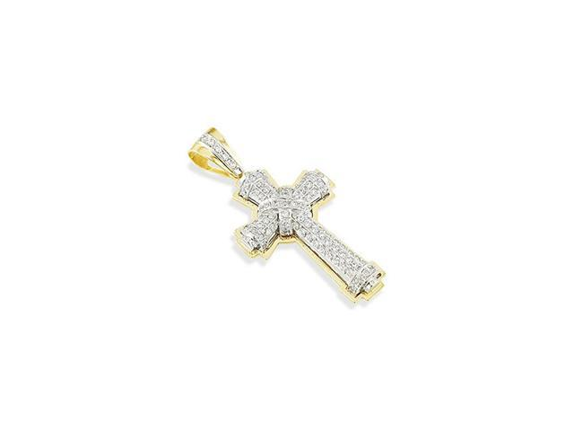14k White Yellow Gold CZ Religious Cross Charm Pendant