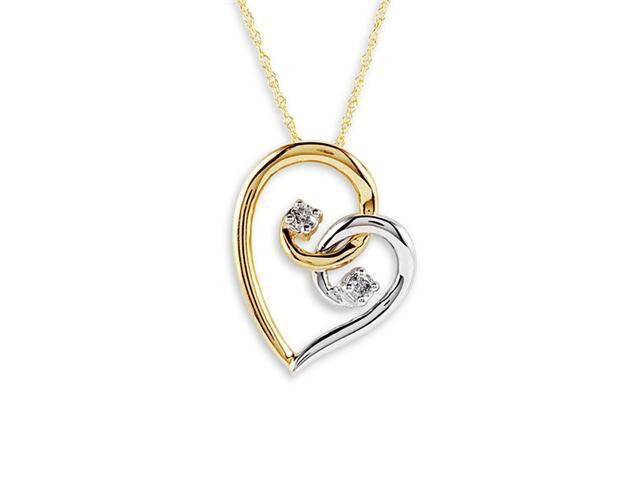 10k Yellow White Gold 2 Round Diamond Heart Necklace