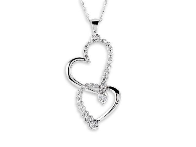 10k White Gold 0.28 Ct Round Diamond Hearts Necklace