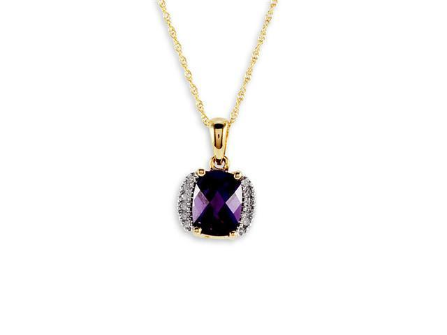 14K Yellow Gold Amethyst 0.10 Ct Round Diamond Necklace