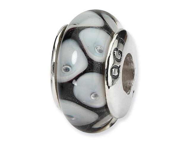 925 Sterling Silver Black Gray Hand Blown Glass Bead