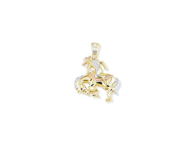 14k White Rose Solid Gold CZ Horse Cowboy Rodeo Pendant