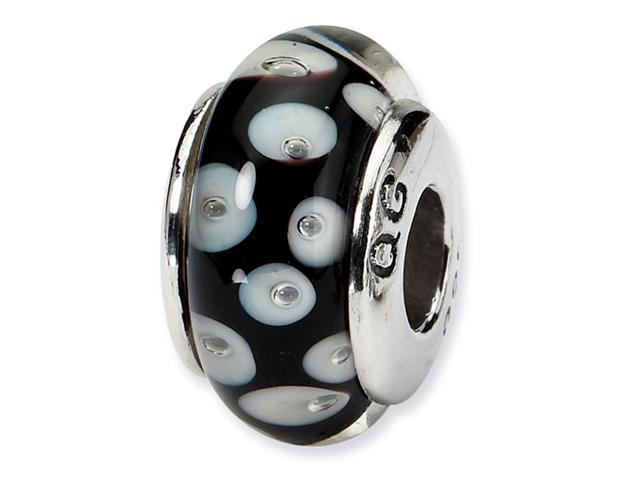 925 Silver White Black Circles Hand Blown Glass Bead