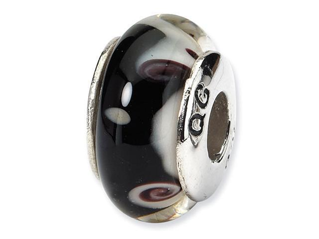 925 Silver Black White Hand Blown Glass Jewelry Bead
