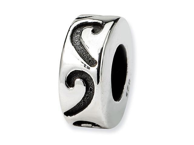 925 Sterling Silver Swirl Stopper Gripper Charm Bead