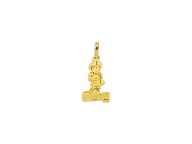 Small Solid 14k Yellow Gold Little Boy Child Pendant