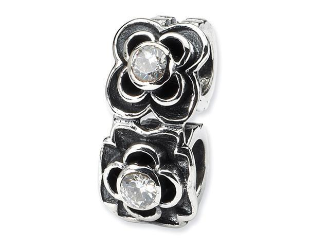 925 Sterling Silver CZ Flower Connector Charm Bead