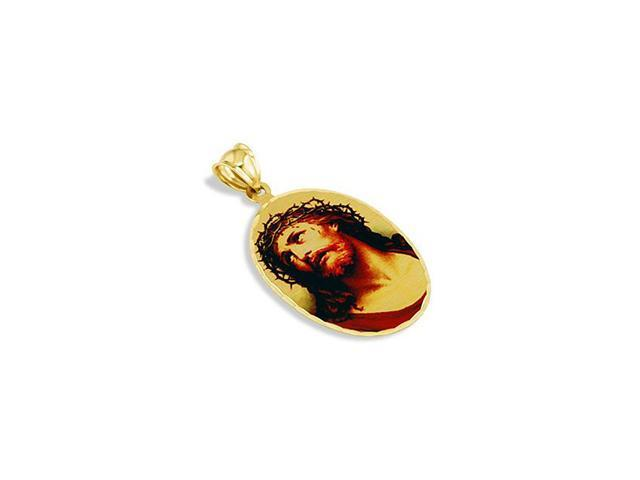 14k Solid Gold Jesus Christ Crown Of Thorns Pendant