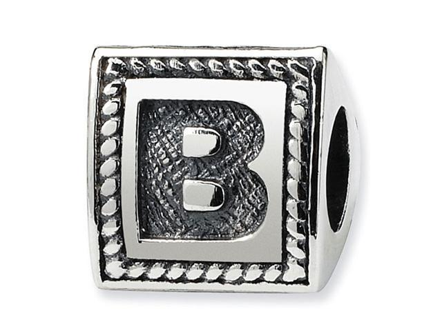 925 Sterling Silver Charm Letter B Triangle Block Bead