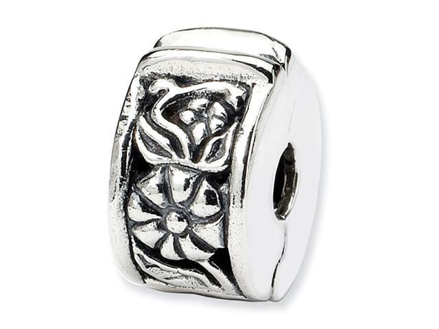 Floral 925 Sterling Silver Round Hinged Clip Bead Charm