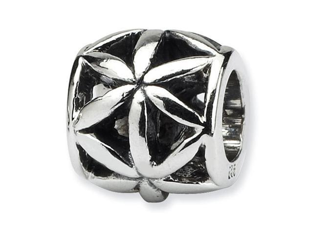Solid 925 Sterling Silver Charm Flower Round Bali Bead