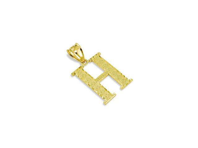 Solid 14k Yellow Gold Name Letter Initial H Pendant