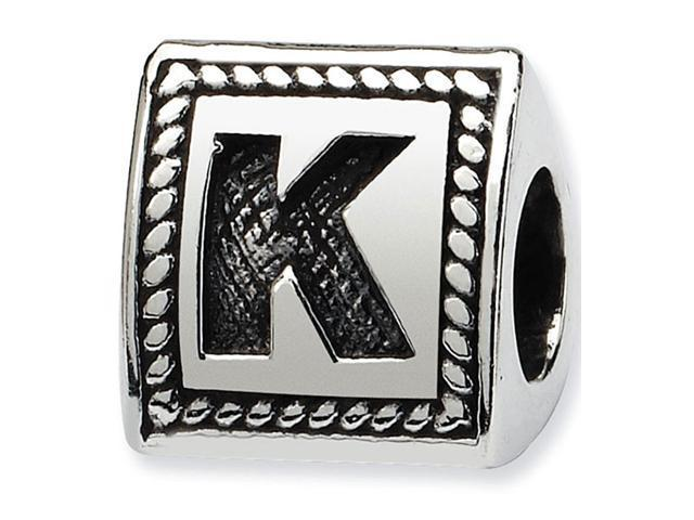 925 Sterling Silver Charm Letter K Triangle Block Bead