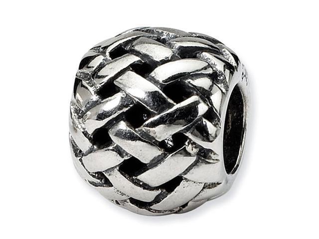 925 Sterling Silver Woven Charm Basket Weave Bali Bead