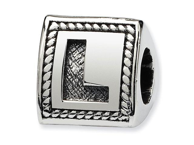 925 Sterling Silver Charm Letter L Triangle Block Bead