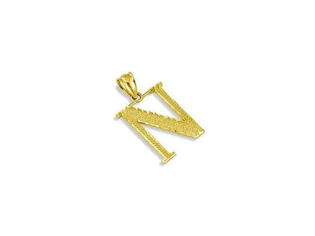 Solid 14k Yellow Gold Name Letter Initial N Pendant