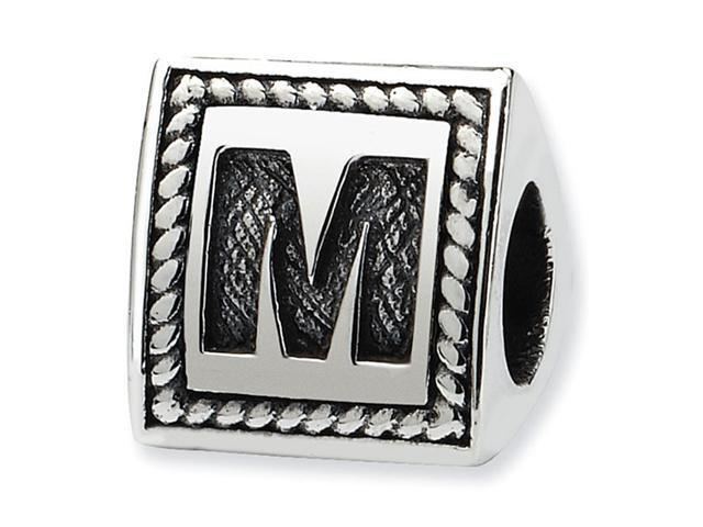 925 Sterling Silver Charm Letter M Triangle Block Bead