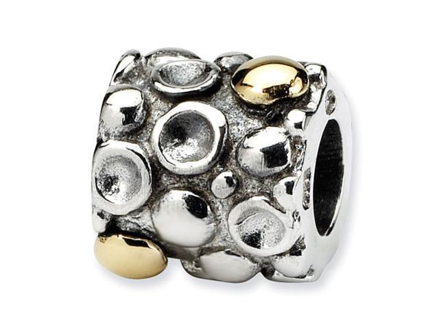 925 Sterling Silver 14k Gold Plated Dots Bali Bead