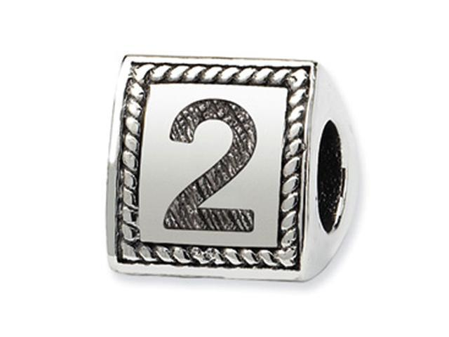 925 Sterling Silver Charm Number 2 Triangle Block Bead