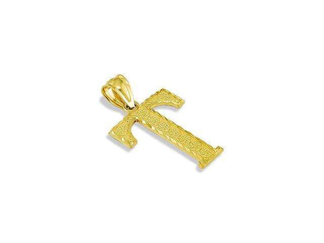 Solid 14k Yellow Gold Name Letter Initial T Pendant
