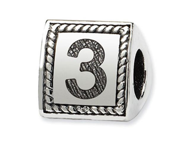 925 Sterling Silver Charm Number 3 Triangle Block Bead