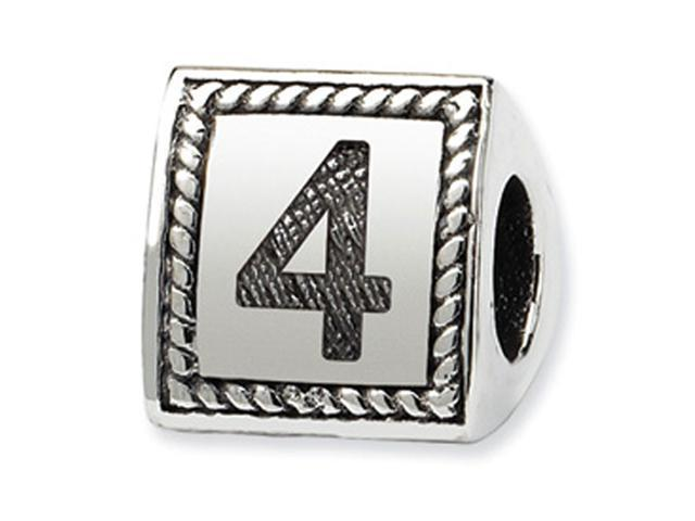 925 Sterling Silver Charm Number 4 Triangle Block Bead