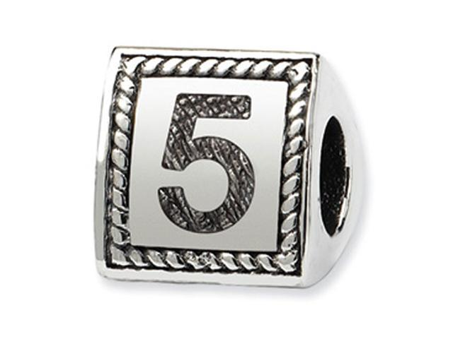 925 Sterling Silver Charm Number 5 Triangle Block Bead
