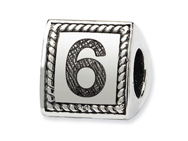925 Sterling Silver Charm Number 6 Triangle Block Bead
