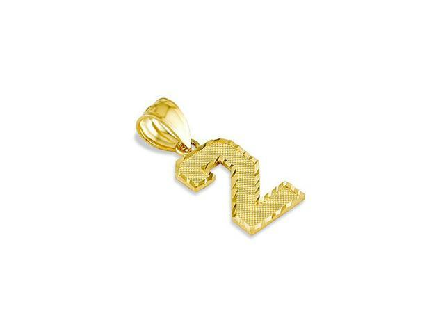 Solid 14k Yellow Gold Diamond Cut Number Two #2 Pendant