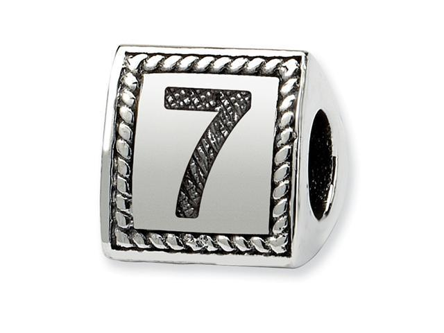 925 Sterling Silver Charm Number 7 Triangle Block Bead