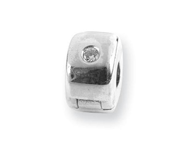 925 Sterling Silver Round CZ Hinged Clip Bead Charm