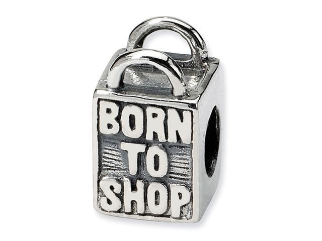 925 Sterling Silver Born To Shop Tote Bag Jewelry Bead