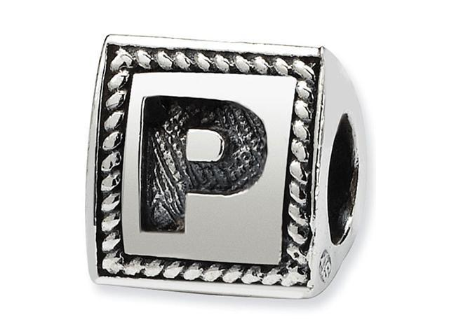 925 Sterling Silver Charm Letter P Triangle Block Bead