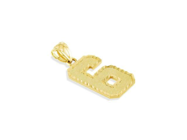 14k Yellow Gold Number #6 Six Diamond Cut Charm Pendant