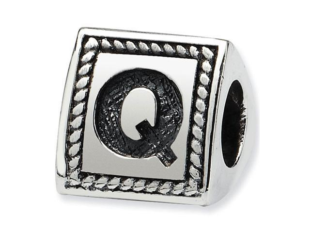925 Sterling Silver Charm Letter Q Triangle Block Bead