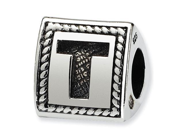 925 Sterling Silver Charm Letter T Triangle Block Bead