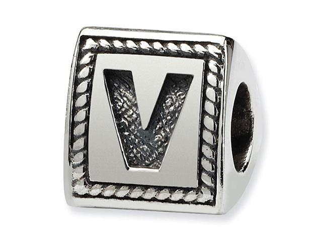 925 Sterling Silver Charm Letter V Triangle Block Bead