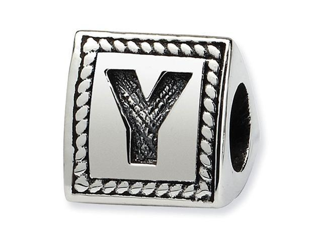 925 Sterling Silver Charm Letter Y Triangle Block Bead