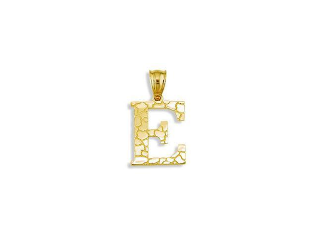 Solid 14k Yellow Gold Letter E Initial Nugget Pendant