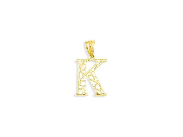 Solid 14k Yellow Gold Letter K Initial Nugget Pendant