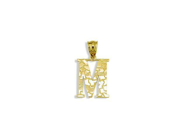 Solid 14k Yellow Gold Letter M Initial Nugget Pendant